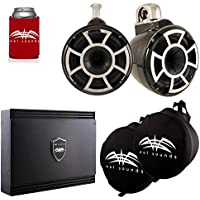 Wet Sounds Black REV 10 Fixed Clamp Tower Speakers with SD2 1250 Watt Amplifier & Suitz Speaker Covers