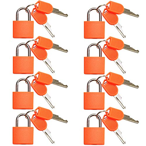 VIP Home Essentials - Small Mini Durable ABS Covered Solid Brass Body Individually Keyed Padlock - 8 Pack Lock Set (Orange)