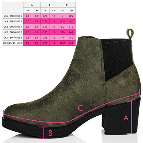 SPYLOVEBUY POPCORN Mujer Tacón Bloque Chelsea Boots Botines Verde - Gamuza Sintética