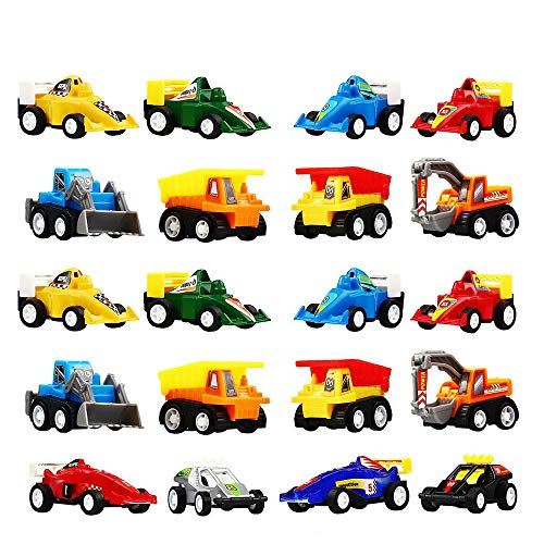 TOPTOY Gifts for 2-6 Year Old Boys Girls, Pull Back Car Assorted Construction Vehicles and Race Car Toys for 2-6 Year Old Boys Girls TTUSCR20