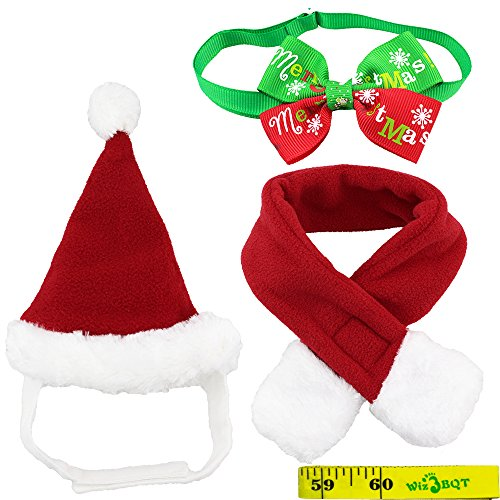 Wiz BBQT Dog Cat Pet Santa Hat Scarf and Collar Bow Tie Christmas Costume for Puppy Kitten Small Cats Dogs Pets -