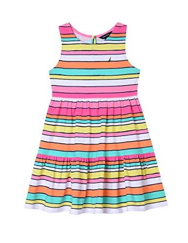 - Nautica Girls' Little Patterned Sleeveless Dress, Bright Pink/Multi Stripe, 6