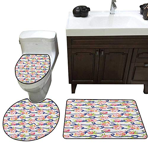 Navy and Blush 3 Piece Toilet mat Set Twisted Blue Marine Rope and Bouquets of Spring Roses and Orchid Lid Toilet Cover Bath Mat Navy Blue Pink Green