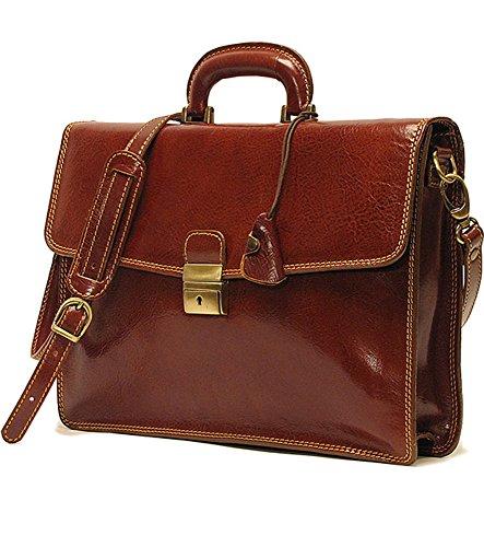 Floto Milano Brief, Leather Women's Briefcase in Vecchio Brown - Milano Ladies Computer Bag