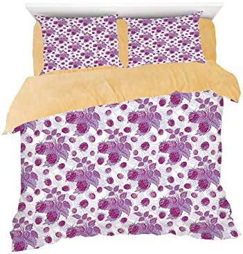 Raspberries Branches Leaves Freshening Nature Fruit Art Illustration,3D Printed in Flannel Duvet Cover Set,Decorated on a 6ft bed,4 Piece Bedding Set with 2 Pillow Shams,King Size,Violet Purple