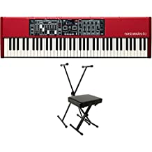 Nord Electro 5D 73-Key Semi-Weighted Waterfall Keyboard (AMS-NELECTRO5D-73) with World Tour Single X Keyboard Stand Deluxe Bench Package