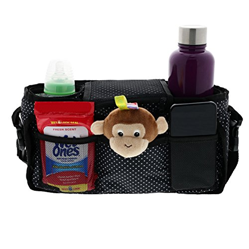 Monster Tots Baby Stroller Diaper Organizer Bag - Waterproof 420D Polyester - Light Weight Design - 2 Insulated Bottle Holder Pockets - Cell Phone Pocket by MONSTER TOTS (Image #1)