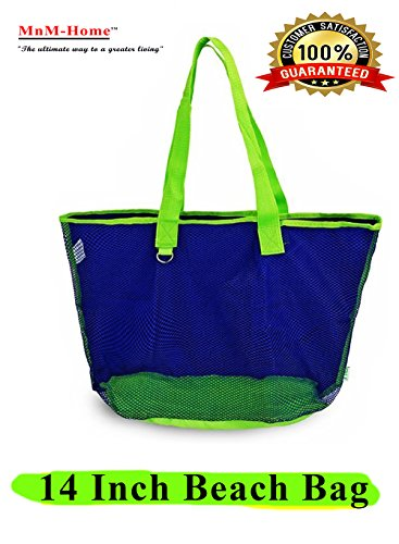 Large beach Bag, Hunter's Green, 14-inch Reusable Mesh sand away, Tote Bag. By (Green Mnm)