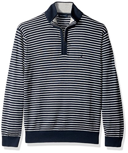 rd Long Sleeve 1/4 Zip Stripe Sweater With Suede Pull Detail, True Navy, Large (1/4 Zip Stripe Sweater)