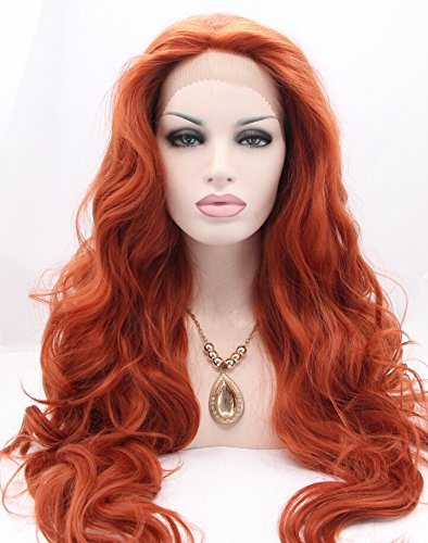 K'ryssma Fashion Women's Copper Red Lace Front Wigs Synthetic Glueless Long Wavy Free Part Half Hand Tied Replacement Full Wigs For Halloween Heat Resistant #360 24 (Best Synthetic Wigs)