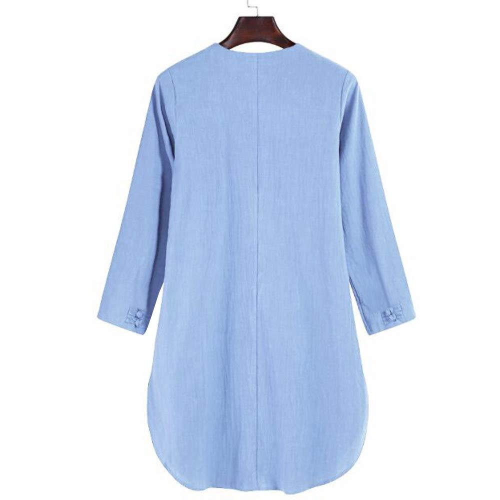 MORCHAN ◕‿◕ Chemisier Tops Sweat Cardigan Manteau Blouson Robe en Lin /à Manches Longues en Coton /à Manches Longues