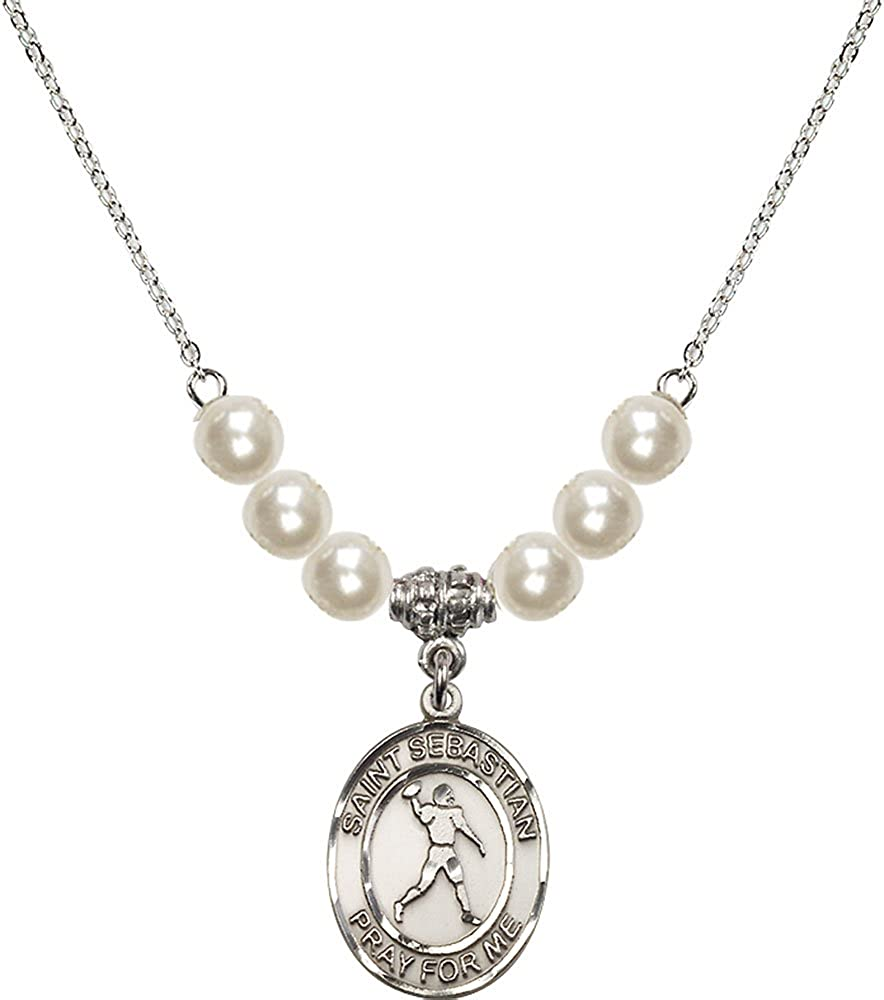 18-Inch Rhodium Plated Necklace with 6mm Faux-Pearl Beads and Sterling Silver Saint Sebastian//Football Charm.