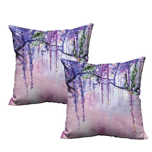 ZhiHdecor Personalized Pillow Cases Watercolor Flower,Wisteria Flowers on Blurred Background with Dreamy Colors,Purple Pale Pink Green 14