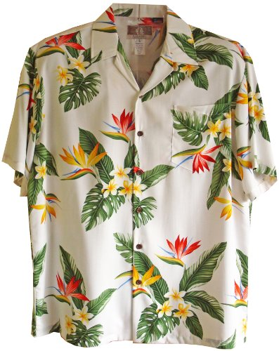 Bird Of Paradise Display - RJC Mens Bird of Paradise Display Rayon Shirt White 3X