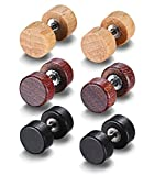 JF.JEWELRY 8Mm Wood Round Puncture Stud Earrings