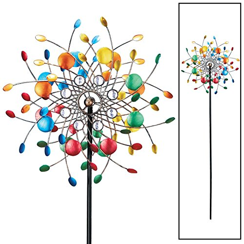 Bright Colorful Spinning Kaleidoscope Garden Decor Yard Stake with Sparkling Acrylic Beads ()