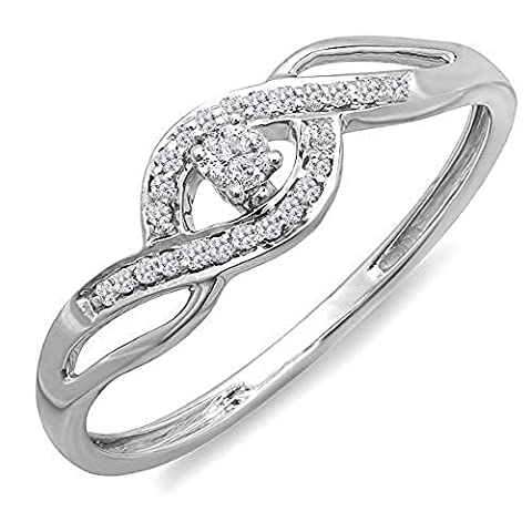 0.15 Carat (ctw) 10k White Gold Round Cut Diamond Ladies Engagement Bridal Promise Ring (Size 5) (Promise Ring Size 5 White Gold)