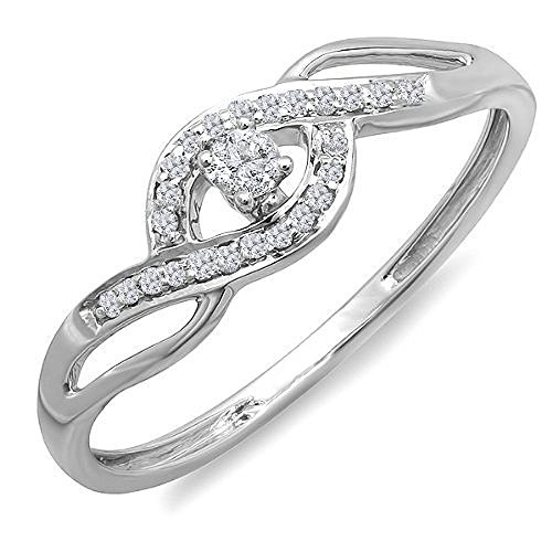 (Dazzlingrock Collection 0.15 Carat (ctw) 10k Round Cut Diamond Ladies Engagement Bridal Promise Ring, White Gold, Size 6)