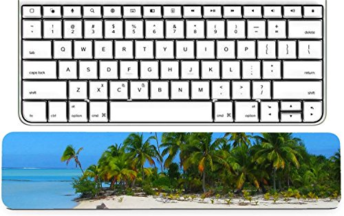 Luxlady Keyboard Wrist Rest Pad Long Extended Arm Supported Mousepad Beautiful beach in One Foot Island Aitutaki Cook Islands IMAGE ID 4293654