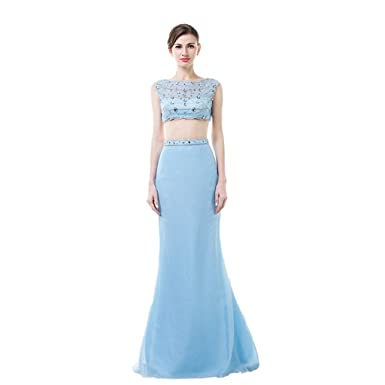MLT Womens 2 Piece Chiffon Beading Prom Dresses