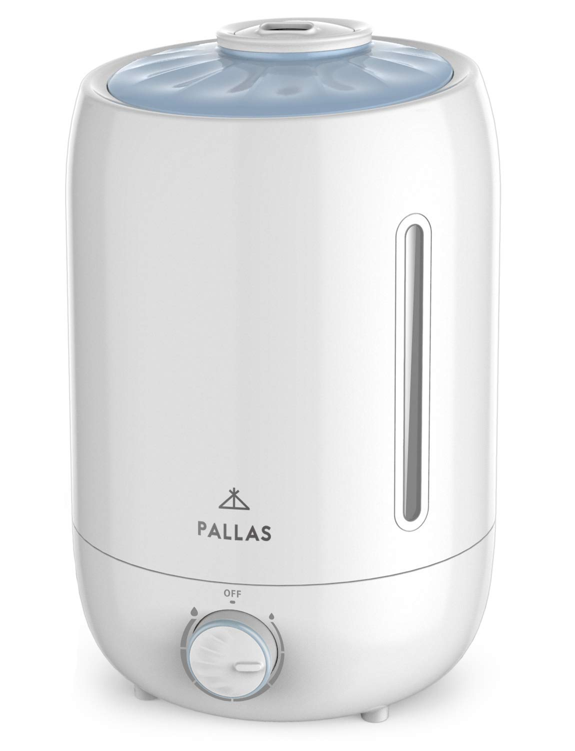 【Upgraded Model】Pallas Humidifier, Ultrasonic Cool Mist Humidifiers with 5L Water tank for Bedroom, Baby, Home, Adjustable Mist Knob 360 Rotatable Mist Outlet, Automatic Shut-Off - Lasts Up to 150hrs