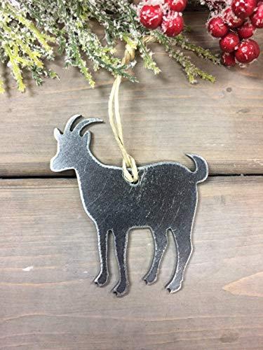 Goat Metal Christmas Ornament, Rustic Christmas Decor, Christmas Tree Ornament Decor, Farmhouse Christmas ()