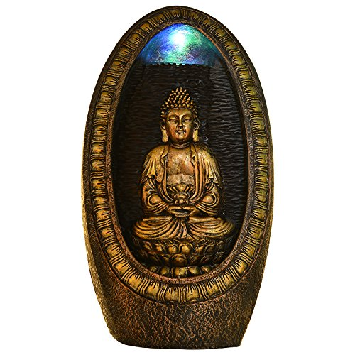 Kiara Buddha Water Fountain Indoor Outdoor Tabletop Fountain Waterfall With LED Light
