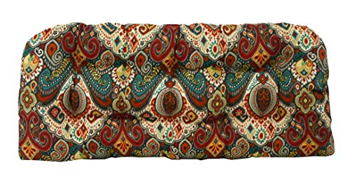 RSH Décor Indoor Outdoor Floral Wicker Tufted Loveseat Settee Cushion - Retro Bohemian Paisley (41