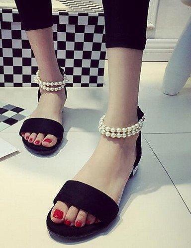 ShangYi Women's Shoes Leatherette Flat Heel Open Toe Sandals Casual Black / Gray