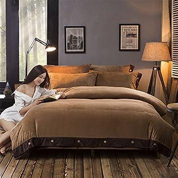 Un lit d'hiver monté quatre morceau de cashmere cashmere corashan feuilles courtepointe 1.8m court chaud velours