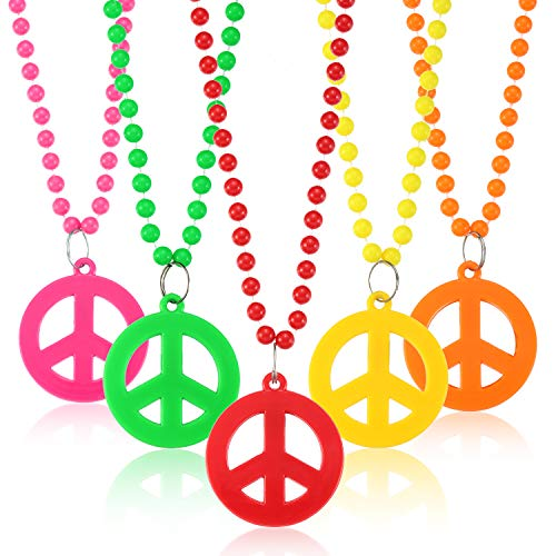 Tatuo 12 Pieces Plastic Peace Sign Pendant Necklace