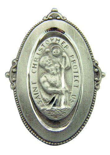 Pewter Saint St Christopher Protect Us Oval Visor Clip, 2 Inch