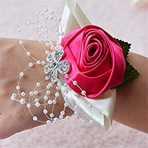 Flonding Girl Bridesmaid Wedding Wrist Corsage Bride Wrist Flower Corsages Stretch Bracelet Wristband for Wedding Prom Party Homecoming Hand Flowers Decor (Rose Red, Pack of 1) 37