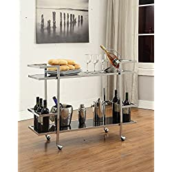 Chrome Metal and Black Glass Modern 2-tier Serving Wine Tea Dining Kitchen Cart with 6 Bottle Holder