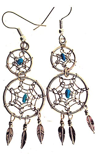 Made in the USA by Navajo Artist Lorenzo Arviso Beautiful Sterling-silver Genuine Turquoise Dream Catcher earrings