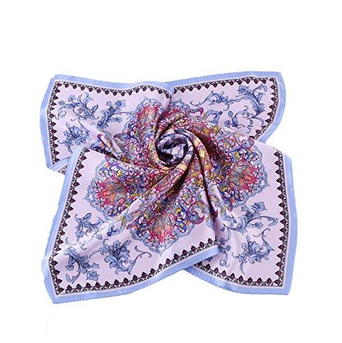 Grace Scarves 100% Silk Scarf, Petite Square, Charmeuse, Eternal Paradise, (Lavender Silk Scarf)