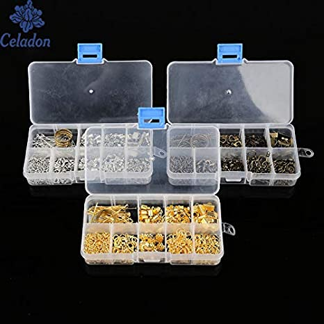 Cierres para cajas pequeños instrumentos, 1 caja, 3 colores, cierre de pinza de pinza, anillos extensores de cadenas, gotas de extremo para herramienta de caja de coser (al azar): Amazon.es: Juguetes y