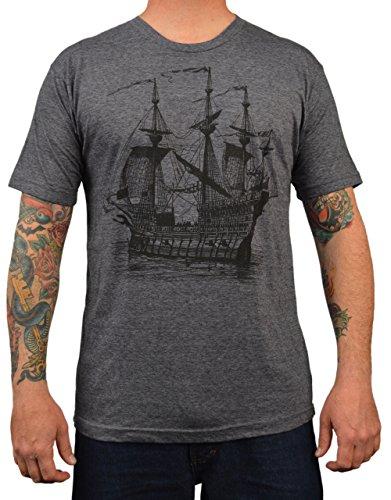 Men's Annex Galleon Victorian Ship Tee Shirt Nautical Pirate T-Shirt Vintage Art Galleon Pirate Ship