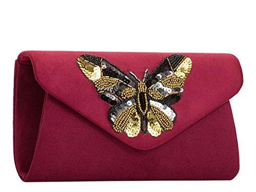 Décoration Fête Bordeaux haute NEUF perles pour Sac paillettes Noir à Mariage Small DIVA Papillon main porte Enveloppe 'S monnaie daim faux femmes pour APOqArBw