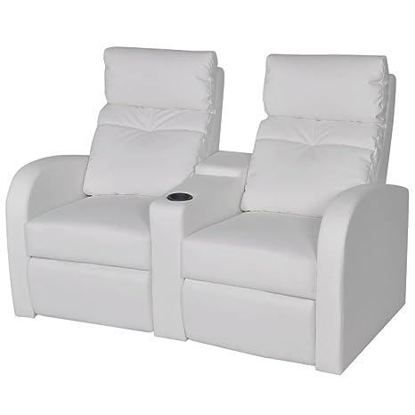 vidaXL Sillón Blanco reclinable tapizado Cuero Artificial 2 ...