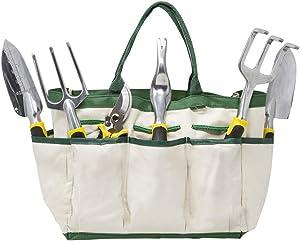 Homewell 8 Piece Garden Tool Set Includes: Shears, Trowel, Transplanter, Weeder, Cultivator, Rake, Gloves & Bag