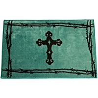 HiEnd Accents Western Cross Print Rug, 24 36-Inch, Turquoise