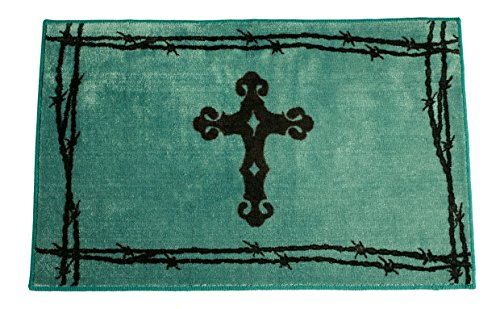Wall Cross Turquoise (HiEnd Accents Western Cross Print Rug, 24 by 36-Inch, Turquoise)