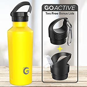 GO Active Flex- Stainless Steel Double Wall Bottle comes with 3 lids. Use Hot as a Travel Coffee Mug or cold as Insulated Sport Bottle. Hot Drinks 12+ hours Cold drinks over 24hrs (Yellow, 24 oz)