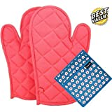 Dm Cool Cotton® Oven Glove & Pot Holder Set (2 Oven Glove + 1 Pot Holder) (Heat Proof) (Glove-33X16Cm / Holder-20X20Cm Perfect for all hands)(Comfortable Wear,Strong Grip,Long Lasting) (Assorted Colors And Designs)(100% Cotton Quilt Stuff)(Easy Wall Hanger) (Anti Bacterial & Eco Hygienic)