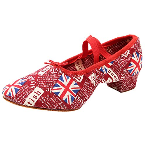 DAGE American Flag Pattern Low Heel Dance Shoes Women Professional Cross Belt Tango Ballroom Modern Shoes