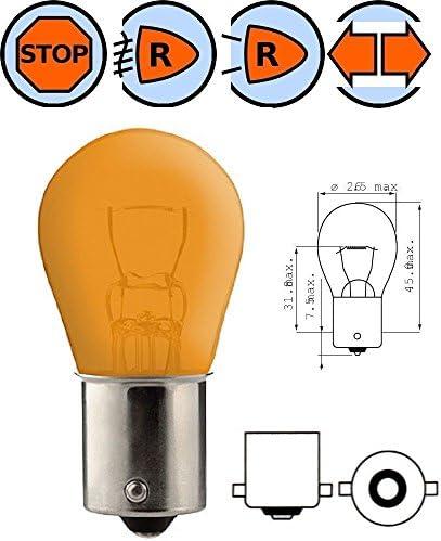 BULB 12V 21W BA15S ORANGE STOP TAIL BRAKE LIGHT LAMP REAR INDICATOR CAR AUTO EXTERIOR TURN SIGNAL MOTORCYCLE