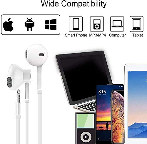(2 Pack) Aux Headphones/Earbuds 3.5mm Wired Headphones Noise Isolating with Built-in Microphone & Volume Control Compatible with iPhone 6 SE 5S 4 iPod iPad Samsung/Android MP3 51OsD8eGxTL
