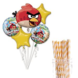 Dress My Cupcake Party Decoration Kit with Straws and Balloons, Angry Birds Birthday Party