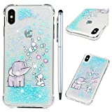 iPhone Xs Max Case, iPhone Xs Max Glitter Cover Liquid Series Luxury Fashion Bling Flowing Floating Sparkle TPU Bumper Skin for iPhone Xs Max, Elephant